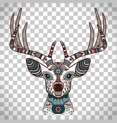 Colorful deer head with ethnic ornament vector
