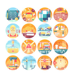 construction concept icons set collection of flat vector image