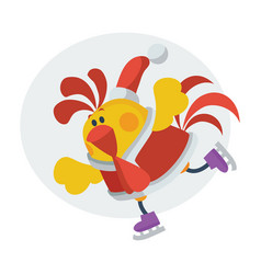 cute rooster on skates cartoon flat icon vector image