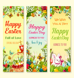 Easter day greetings banner with holiday symbols vector