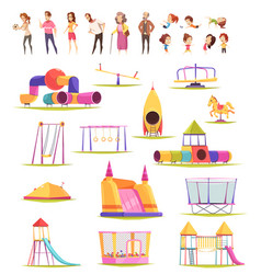 Family yard elements collection vector
