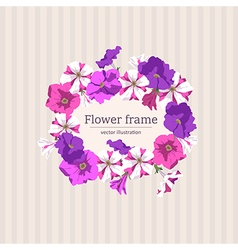 Floral frame of petunias vector