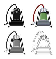 Foot pump for car single icon in cartoonoutline vector