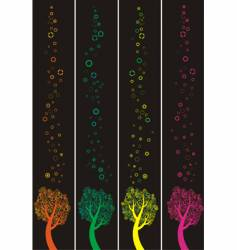 four banners with abstract trees vector image vector image