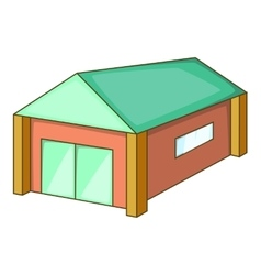 Garage with a green roof icon cartoon style vector