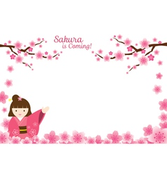 Girl in kimono with cherry blossoms frame vector
