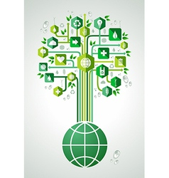 Green eco friendly planet tree vector image