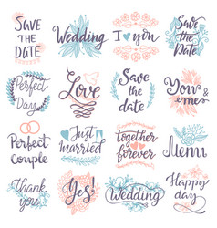 hand drawn typography save the date quote text vector image