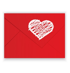 Heart white crayon on red envelope vector image vector image