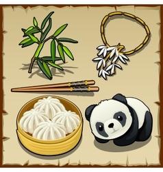 Japanese theme set of food animal and jewellery vector