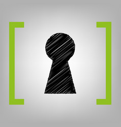 Keyhole sign black scribble vector