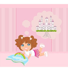 Little girl reading fairy tales vector