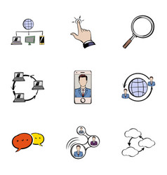 messaging icons set cartoon style vector image vector image