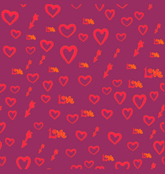 Seamless pattern with hearts love word and vector