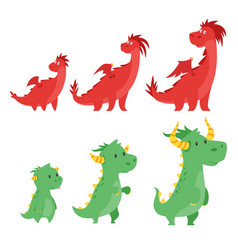 set of cute dragons vector image vector image