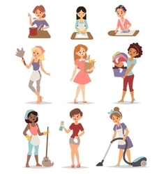 Set of housewife icon homemaker cleaning ironing vector image