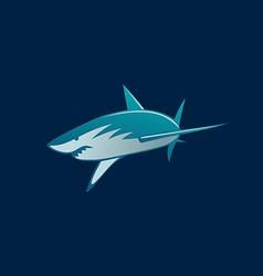 Shark attack logo sign on dark background vector