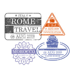 ship and airplane travel stamps of rome usa and vector image
