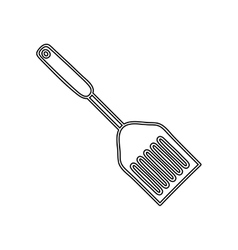 Silhouette frying spatula utensil kitchen vector