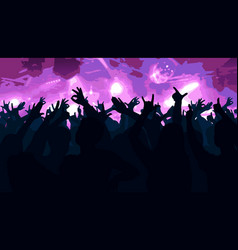 silhouettes of dancing people in club vector image