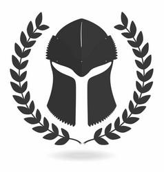 spartan helmet silhouette with laurel wreath vector image