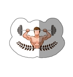 Sticker ornament leaves with muscle man lifting a vector