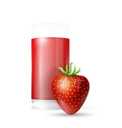 strawberry and glass of juice vector image vector image