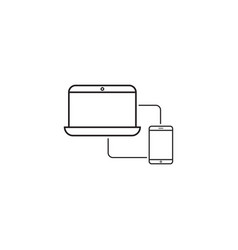 sync devices line icon outline vector image vector image