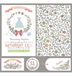 Wedding templatesdoodle floral decorpattern vector