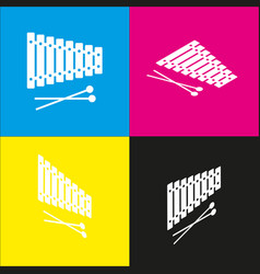 Xylophone sign white icon with isometric vector