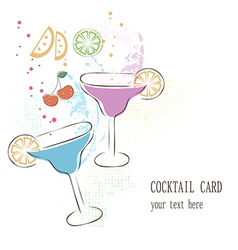 Cocktail card vector image