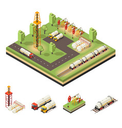 Colorful isometric oil extraction composition vector