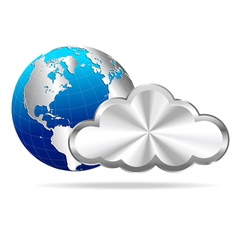 Cloud and globe vector