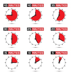 Five to forty five minutes stop watch vector