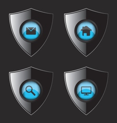 Shield web flat icons vector