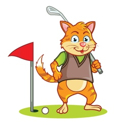 Golf cat cartoon vector