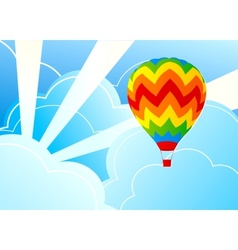 Wits air balloon and blue sky vector