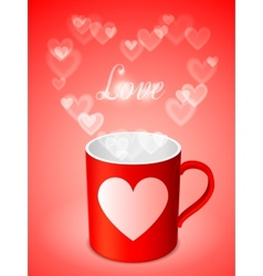 Cup with hearts vector