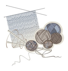 Needles balls of wool and knitting pattern vector