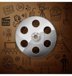 Film reel and hand draw cinema icon vector