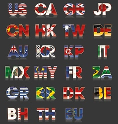 Flag - countries - abbreviation vector