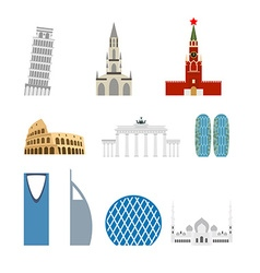 Set landmark germany russia attraction of dubai vector