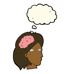 Cartoon female head with brain symbol with thought vector