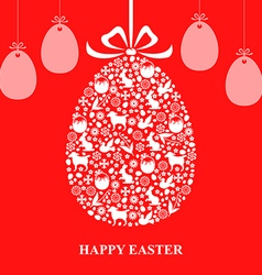 Easter decor hang red vector