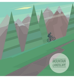 Flat mountain landscape with steep slopes trees vector