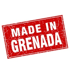 Grenada red square grunge made in stamp vector