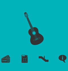 acoustic guitar icon flat vector image