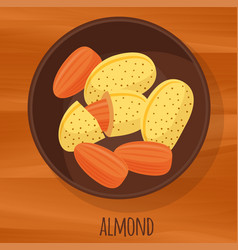 almond flat design icon vector image vector image