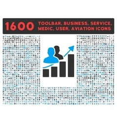 Audience growth icon with large pictogram vector
