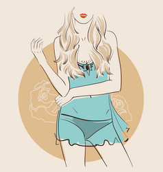 beautiful woman wearing sexy lingerie vector image
